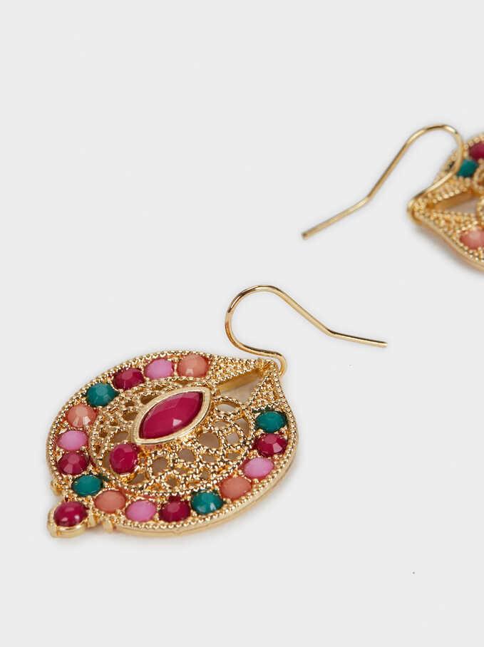 Hoop Earrings With  Brilliant Details, Multicolor, hi-res