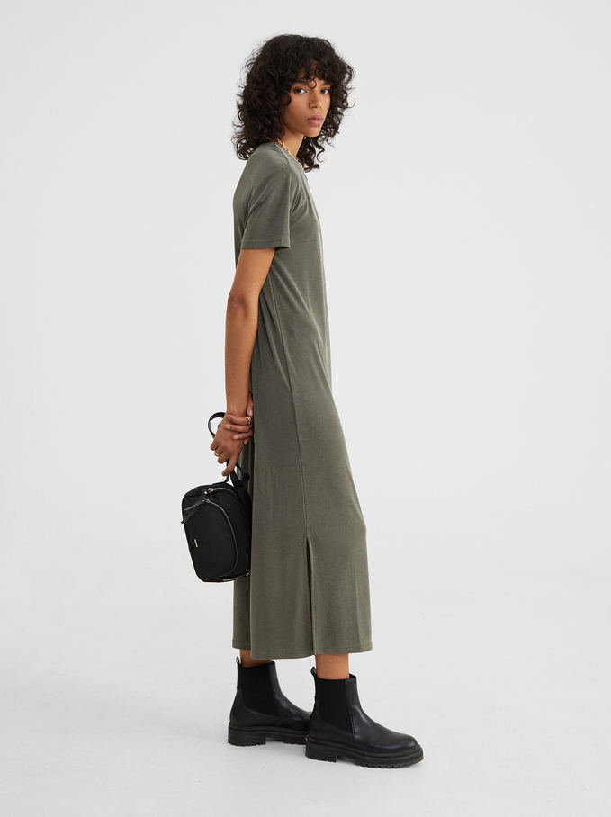 Long Dress With Short Sleeves And A Round Neckline, , hi-res