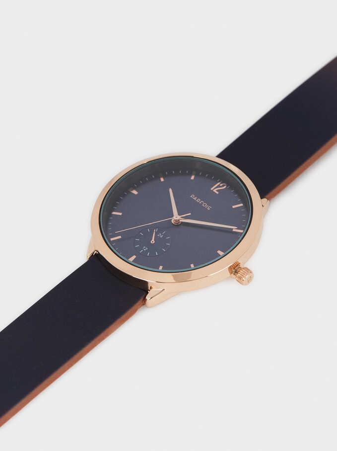 Reloj Correa De Silicona Caja Redonda, Azul Marino, hi-res