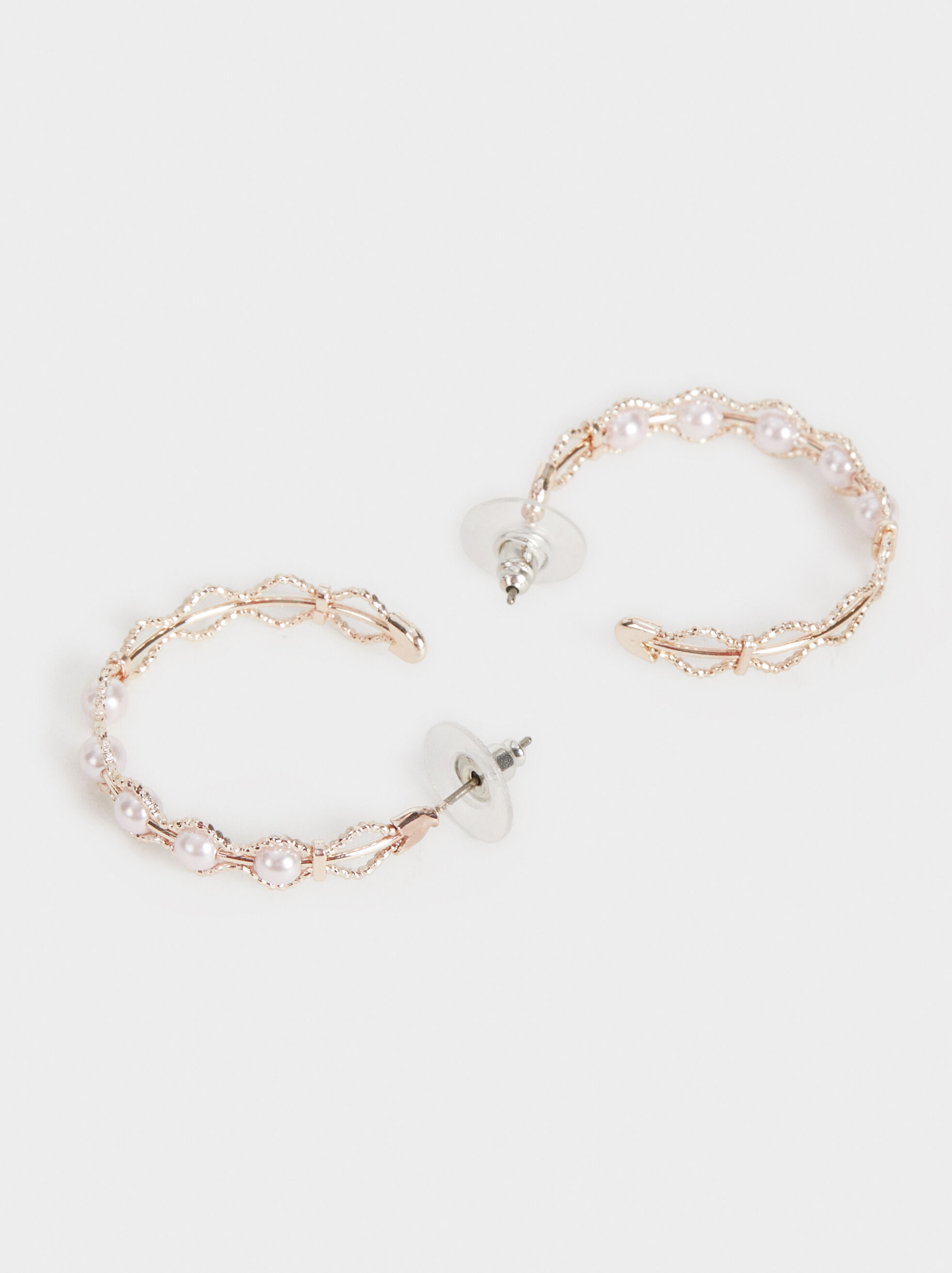 Pink Desert Medium Hoop Earrings With Pearls, Orange, hi-res