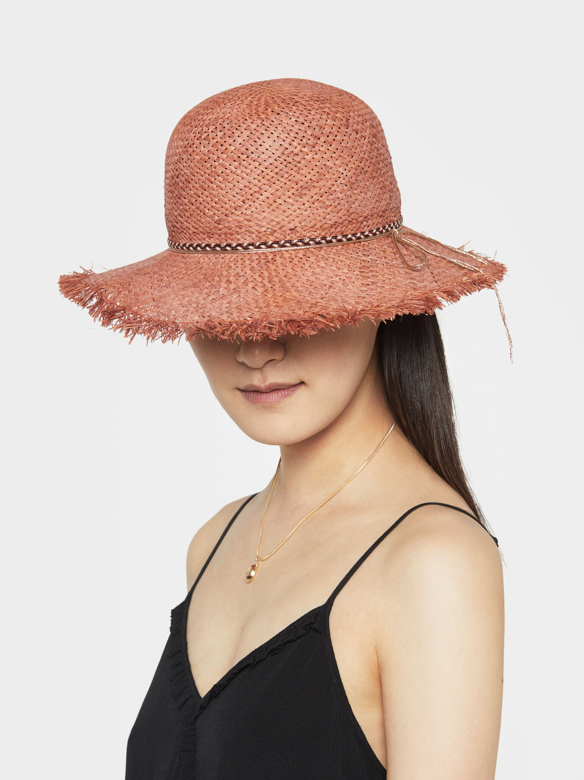 Faux Raffia Hat, Orange, hi-res