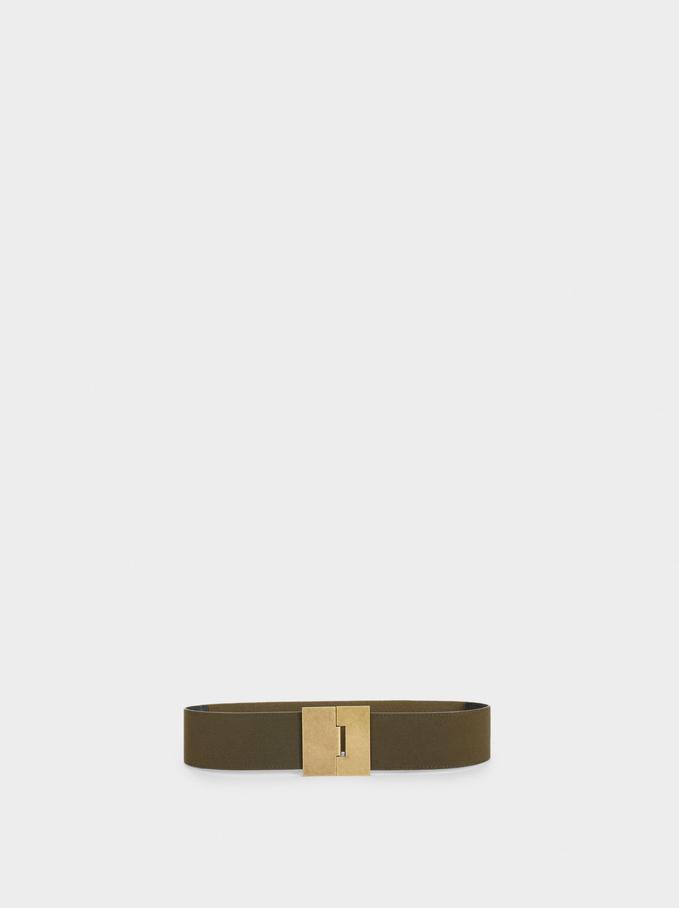 Stretch Belt With Golden Buckle, Khaki, hi-res