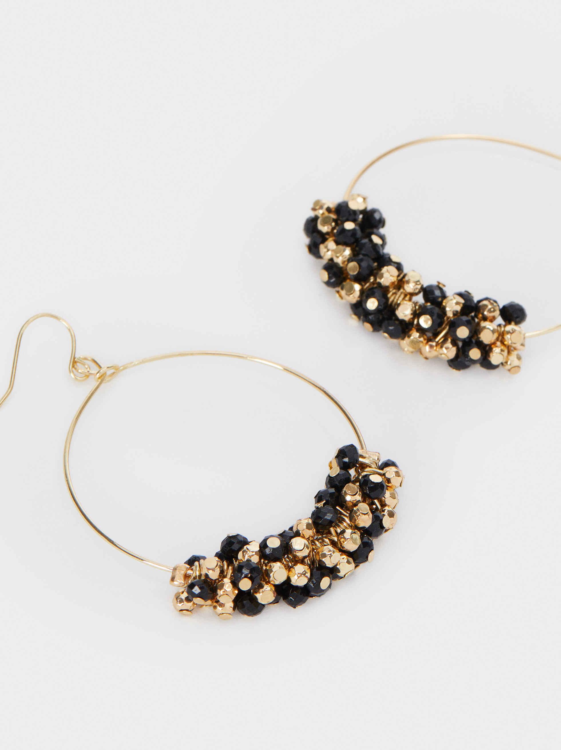 Large Gold Metal Earrings, Multicolor, hi-res