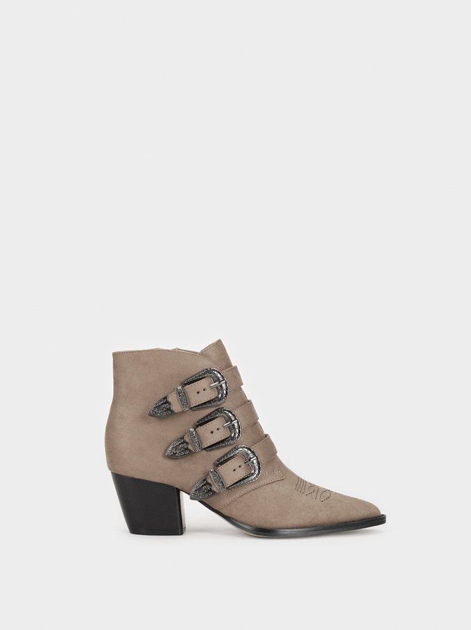 Ankle Boots With Buckle Details, Brown, hi-res