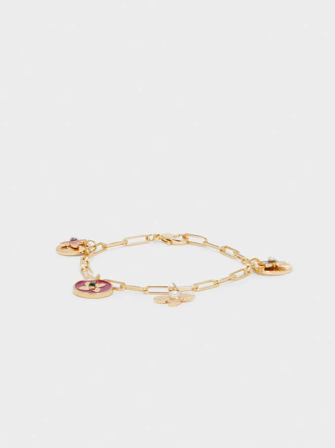 Chain Link Bracelet With Charms, Golden, hi-res