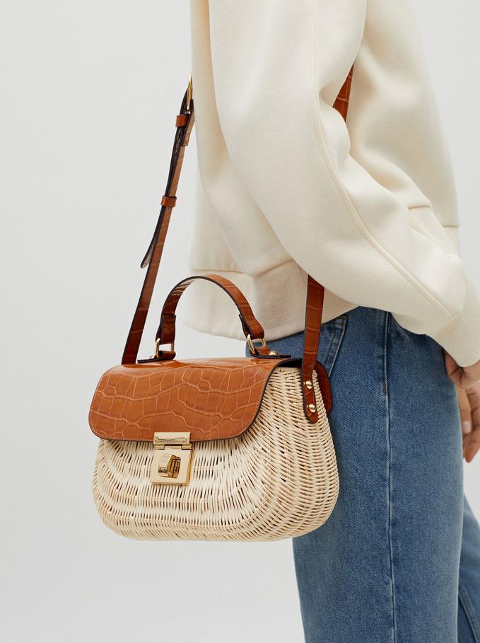 Combined Raffia Textured Crossbody Bag, Camel, hi-res
