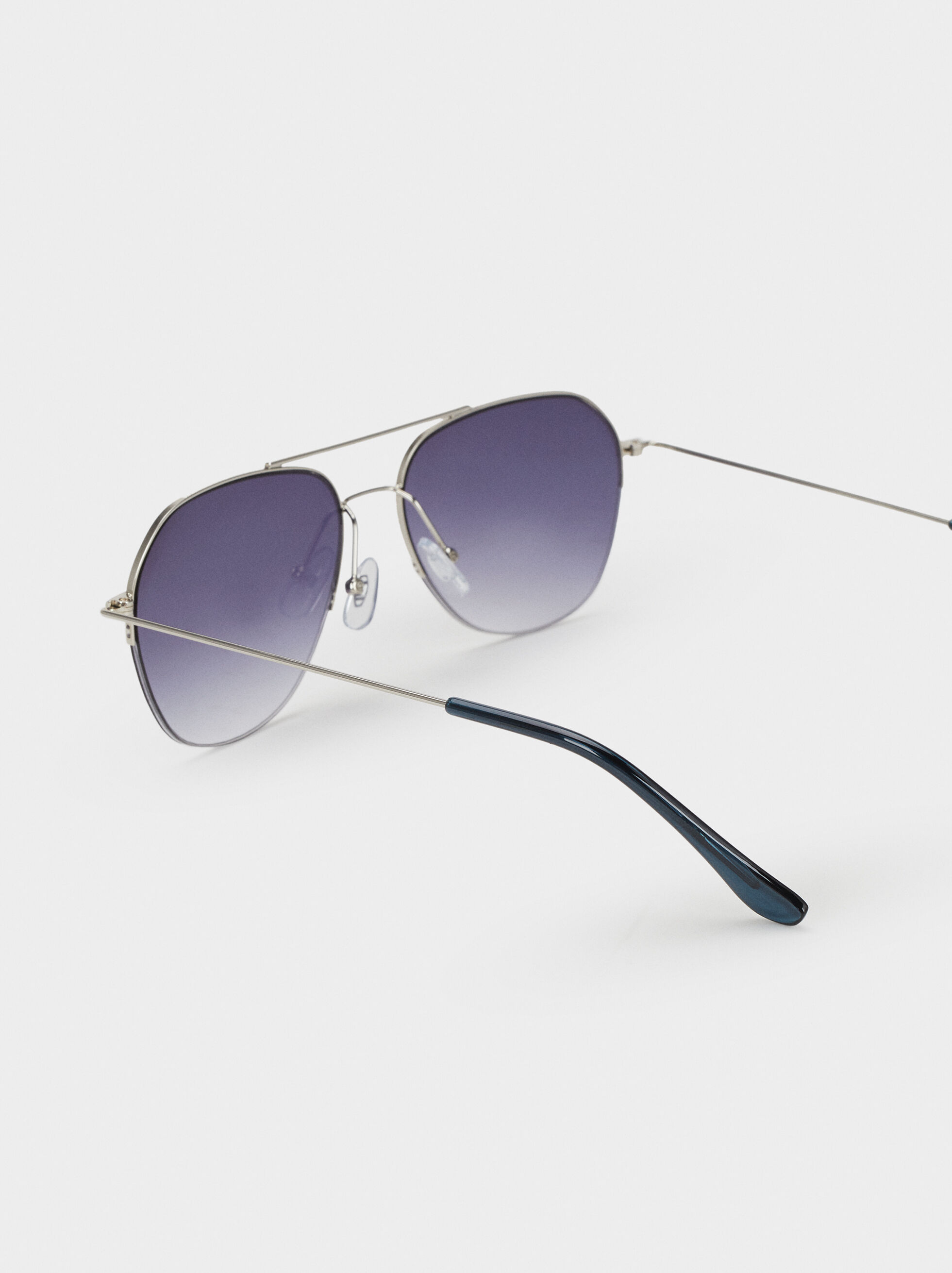 Aviator Sunglasses, Silver, hi-res
