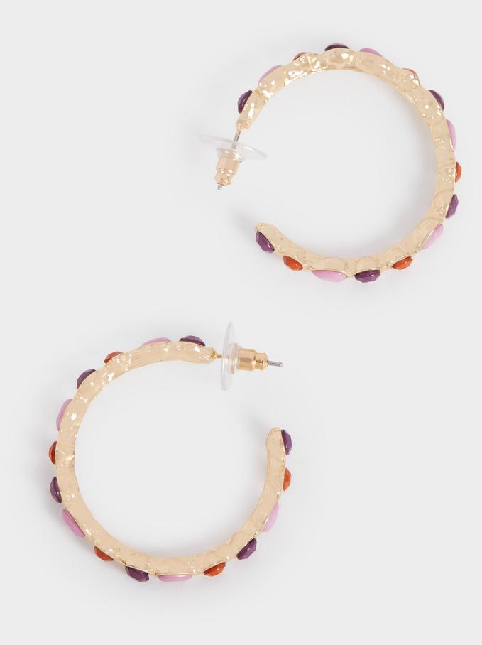Hoop Earrings With Crystals, Multicolor, hi-res