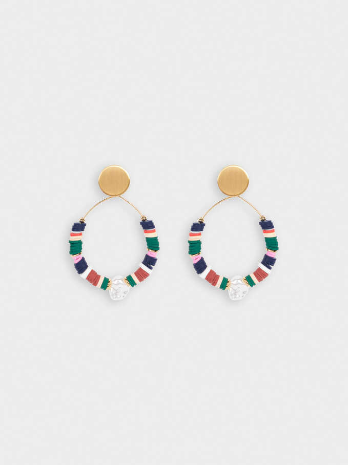 Large Earrings With Pearl And Beads, Multicolor, hi-res