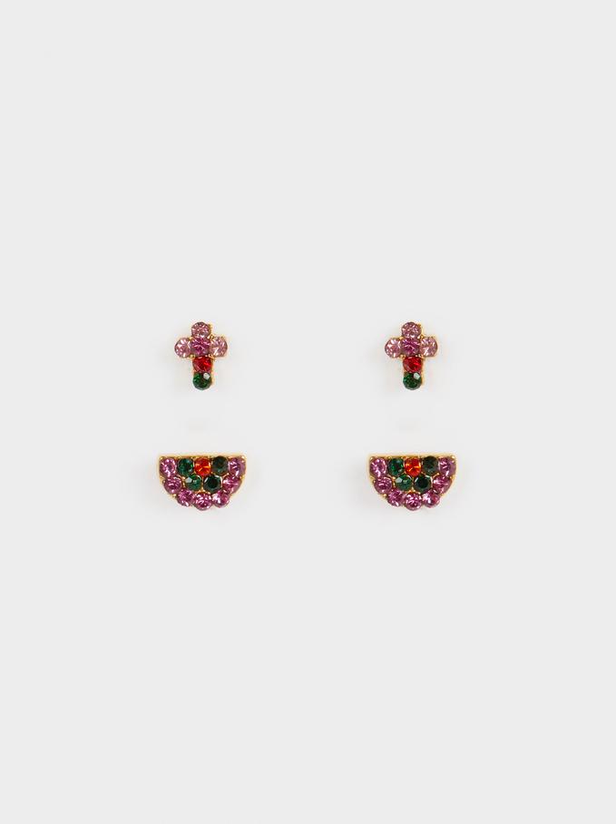 Stainless Steel Earrings, Golden, hi-res