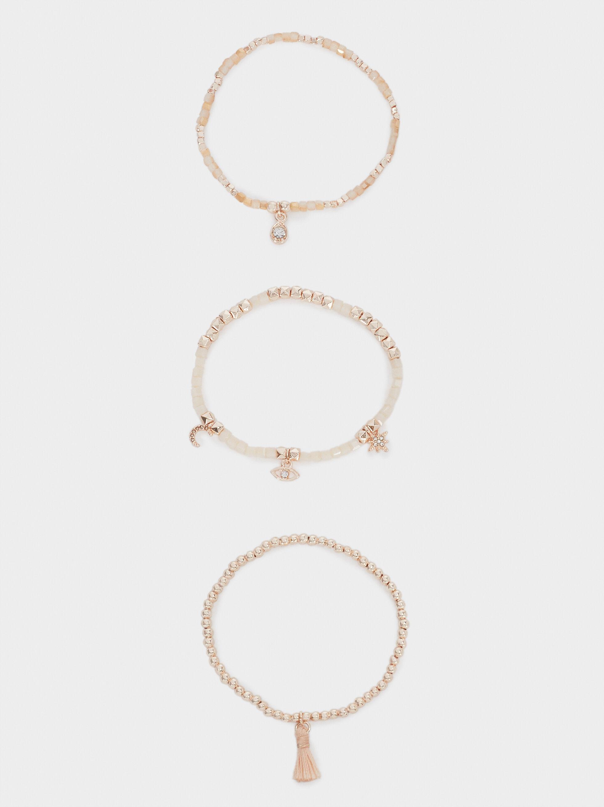 Pink Elasticated Bracelet With Pearl, Orange, hi-res