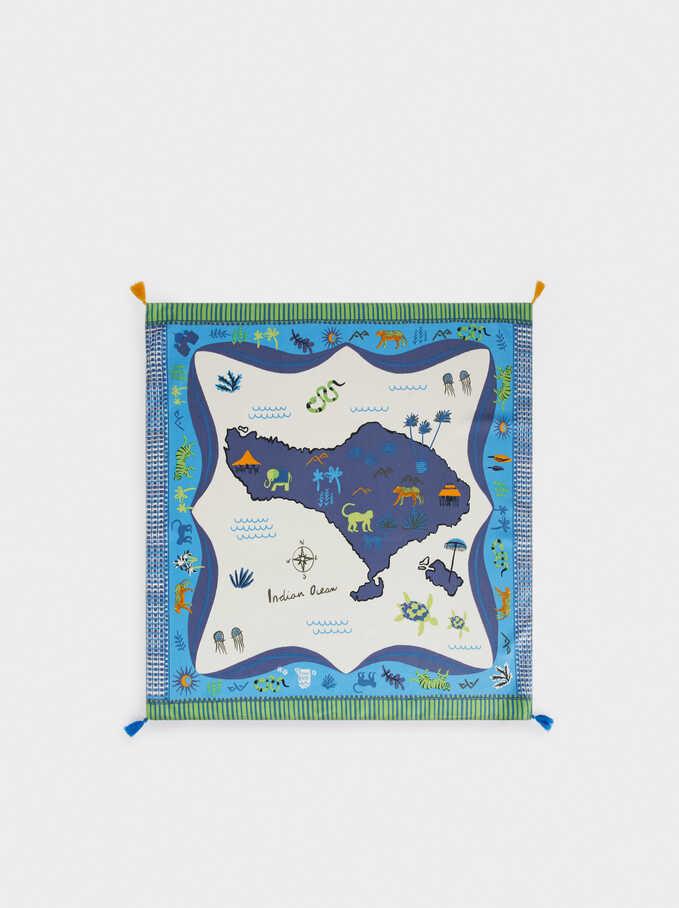 Printed Square Neckerchief, Blue, hi-res