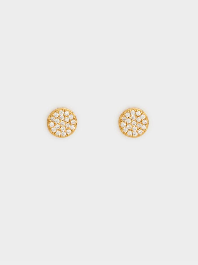 Boucles D'Oreilles Courtes En Argent 925 Faux Diamants, Doré, hi-res