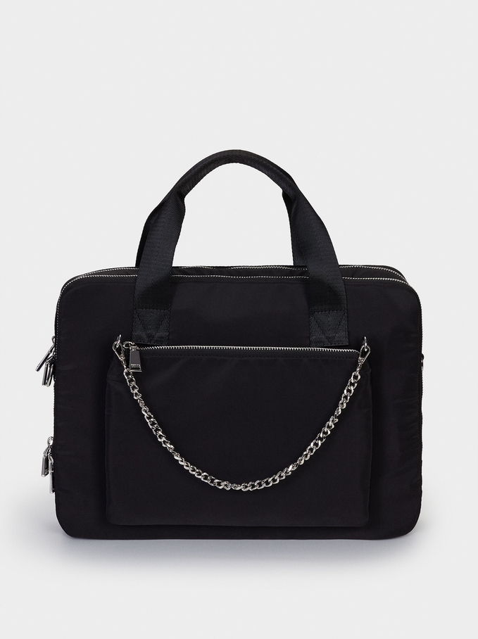 Nylon Briefcase With Chain Detail, Black, hi-res
