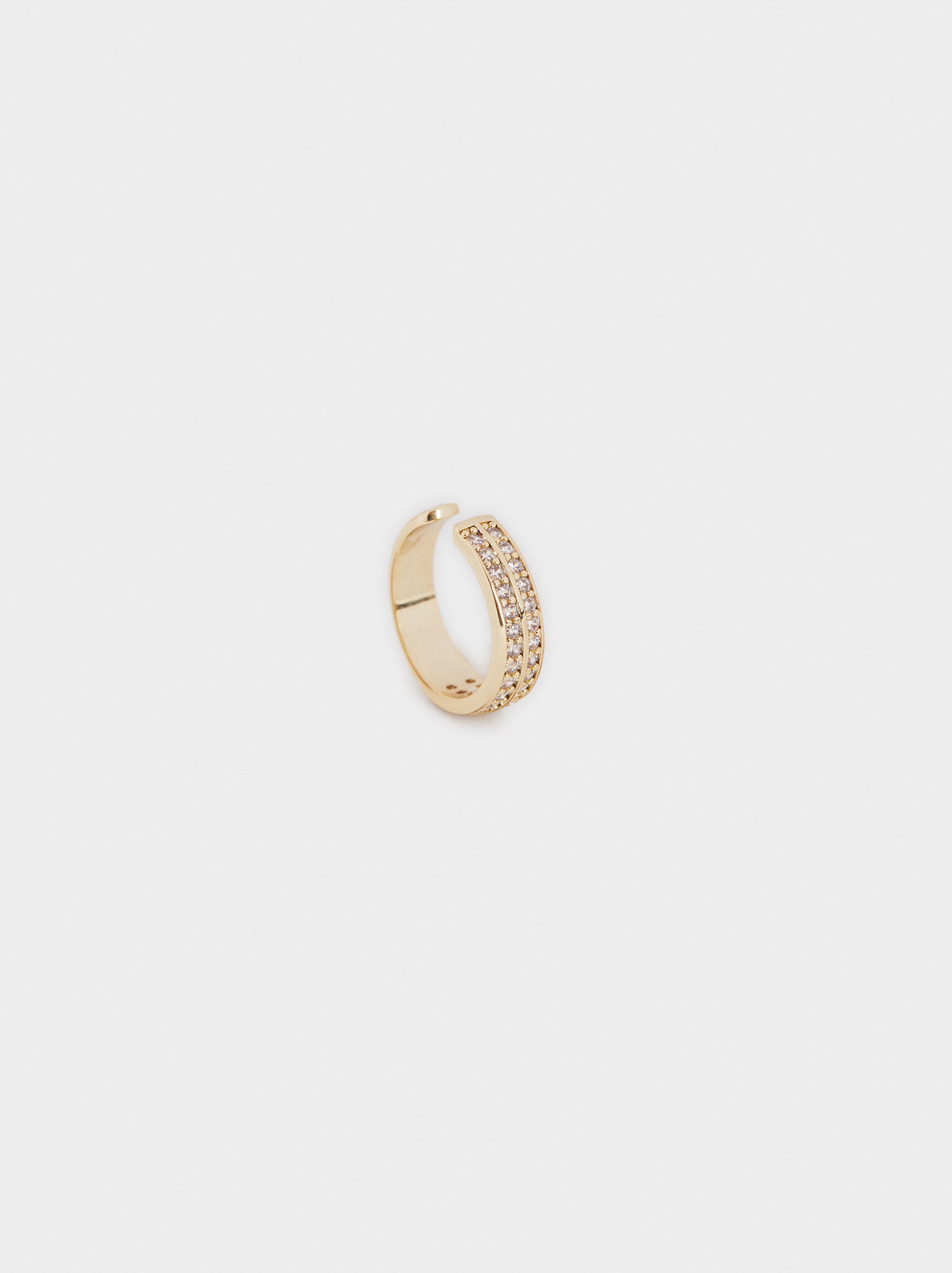 Small Golden Earcuffs With Crystals, Golden, hi-res