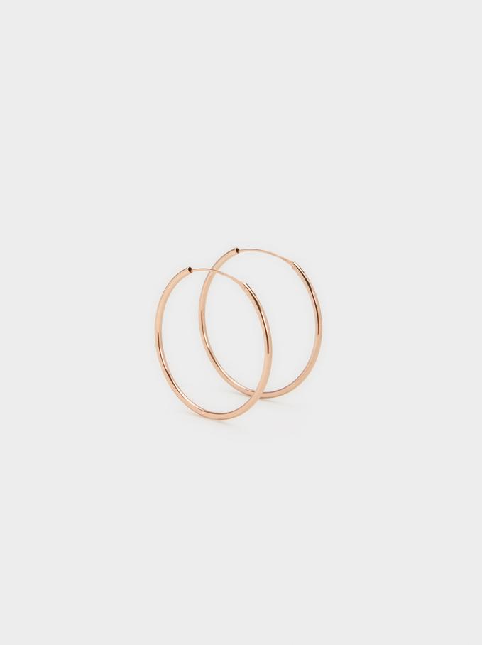 Short 925 Silver Hoop Earrings, Orange, hi-res