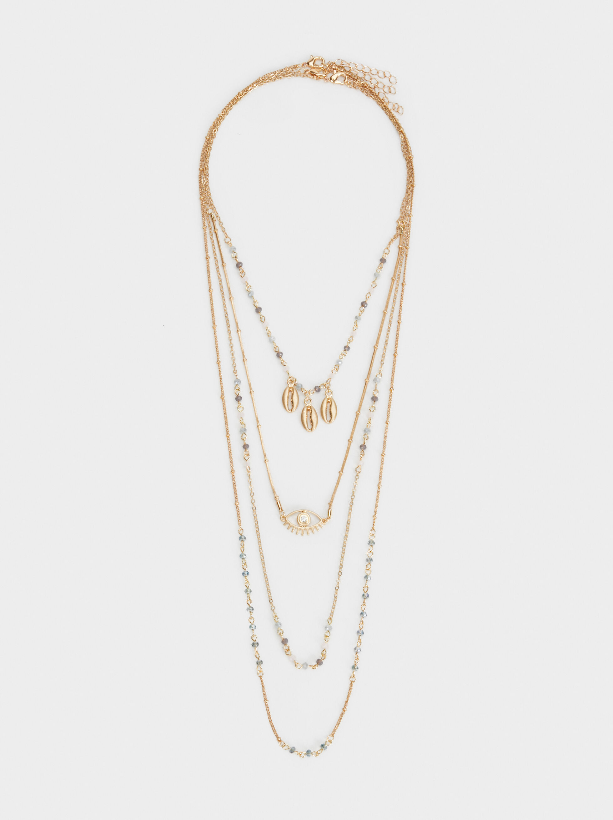 Triple-Strand Necklace With Pendants, , hi-res
