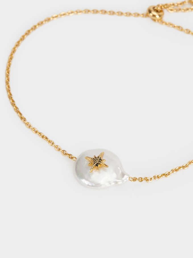 Adjustable 925 Silver Bracelet With Pearl, Beige, hi-res