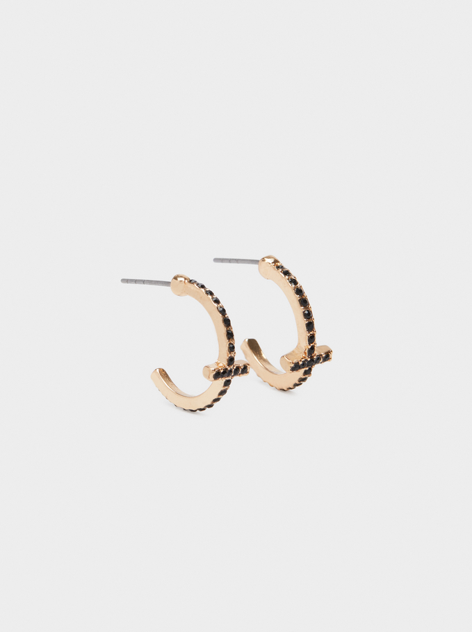 Small Gold Earrings, Multicolor, hi-res
