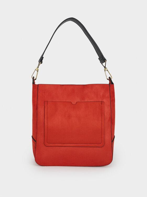 Suede Texture Handbag, Brick Red, hi-res