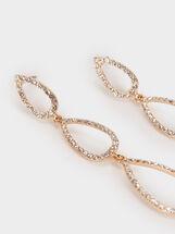 Long Earrings With Rhinestones, Golden, hi-res