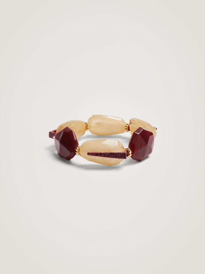 Elastic Bracelet With Resin, Bordeaux, hi-res
