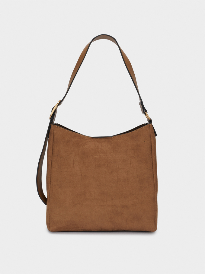 Faux Suede Shoulder Bag, Camel, hi-res