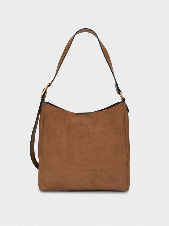 Faux Suede Shoulder Bag, Camel, hi-res