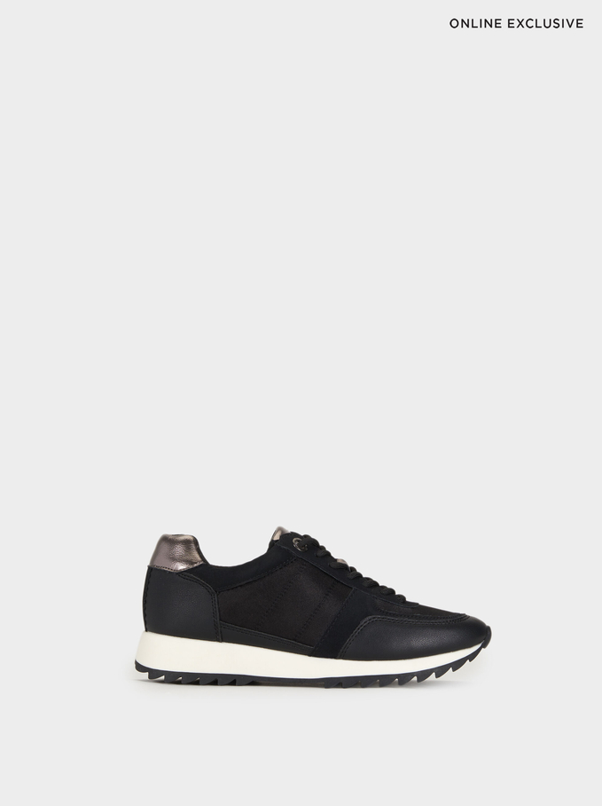 Zapatillas Suela Contraste, Negro, hi-res