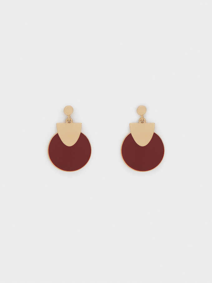 Geometric Earrings, Red, hi-res
