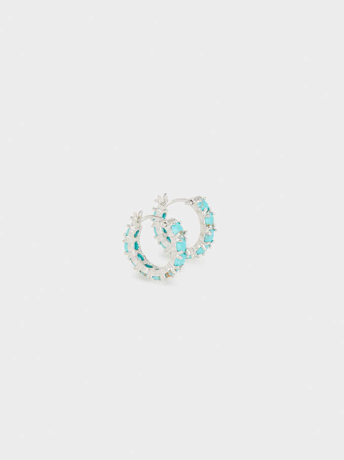 Small 925 Sterling Silver Hoops With Stones, , hi-res
