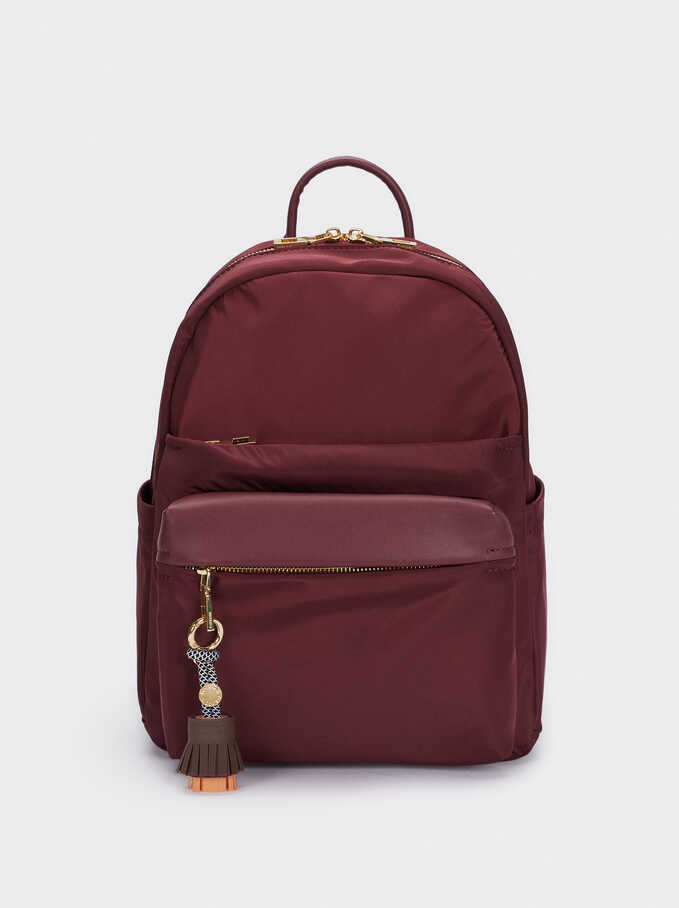 Nylon Backpack With Tassel Detail, Bordeaux, hi-res