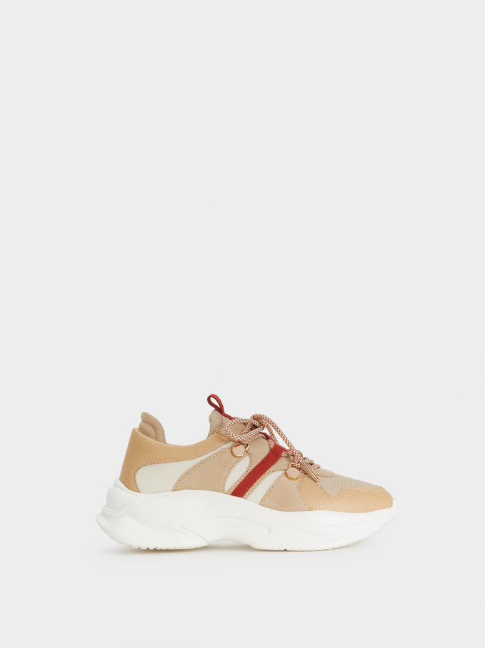 Maxi Sole Trainers, Beige, hi-res