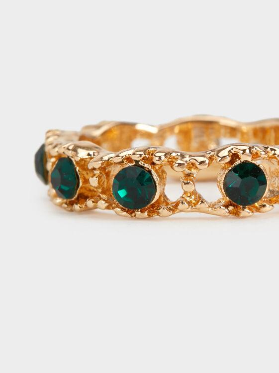 New Age Rhinestone Ring, Green, hi-res