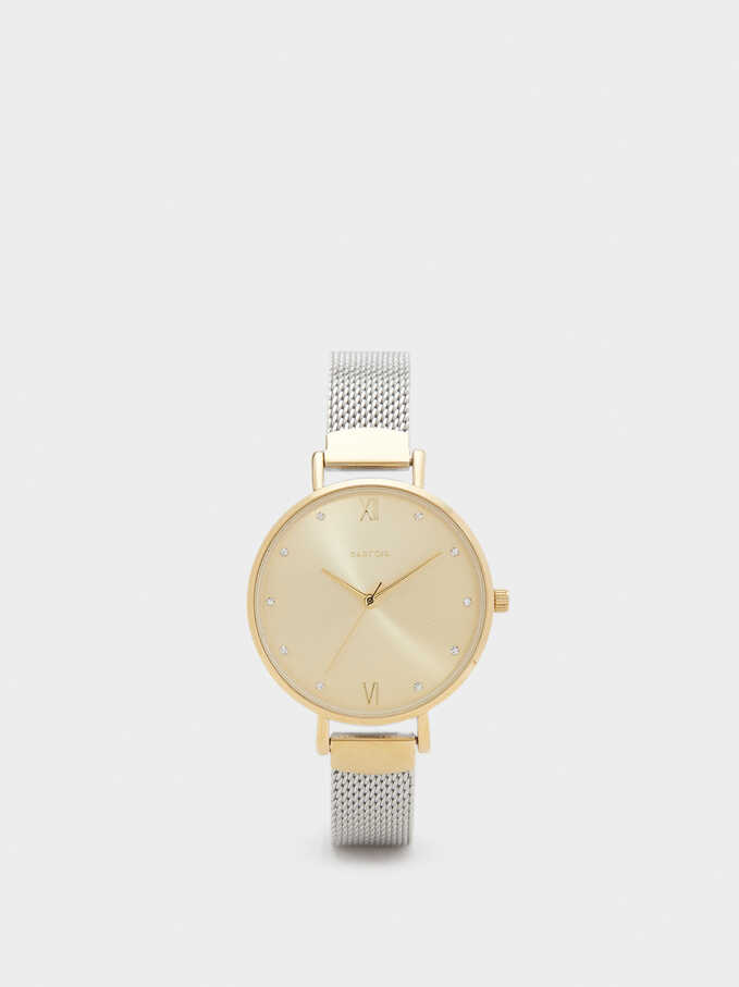 Watch With Narrow Metallic Mesh Strap, Golden, hi-res