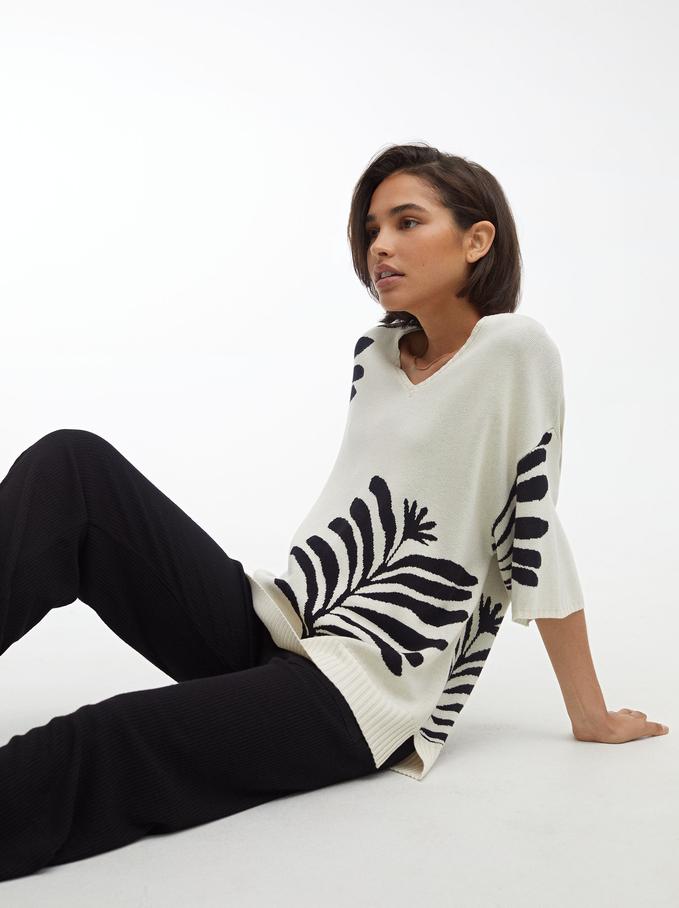 Knit Printed Sweater, Ecru, hi-res