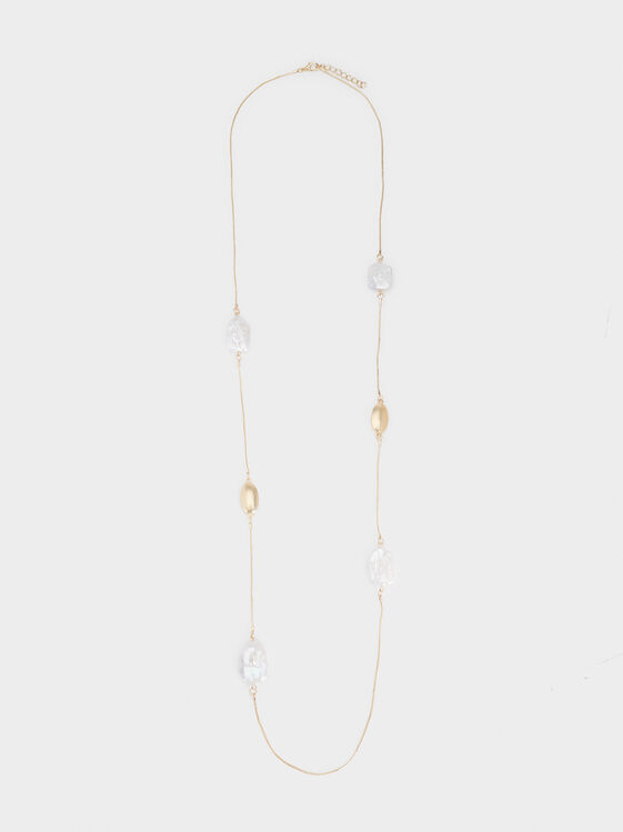 Fancy Pearls Long Necklace, White, hi-res