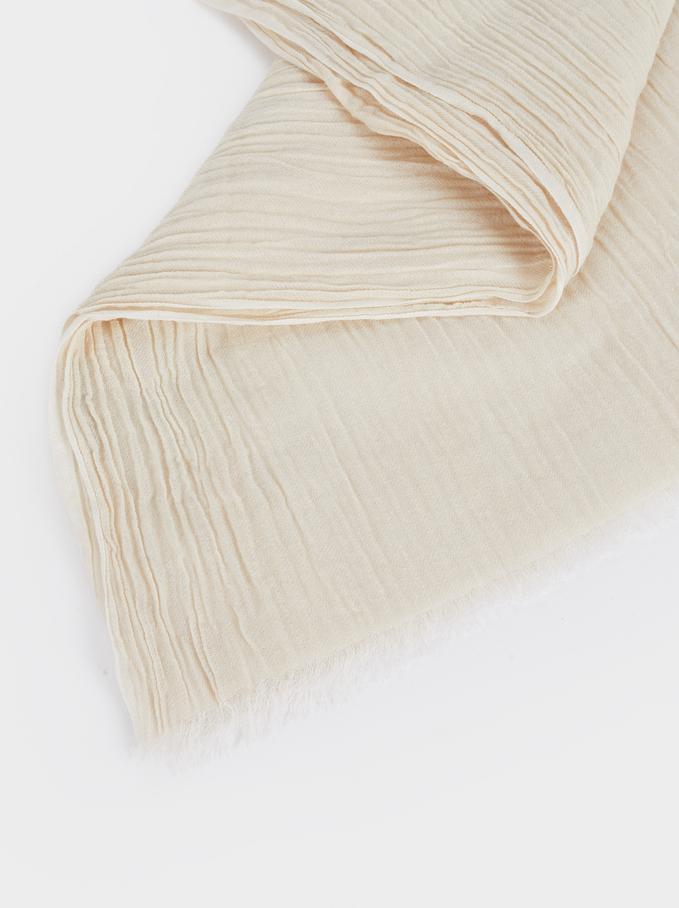 Plain Cotton Pashmina, Ecru, hi-res