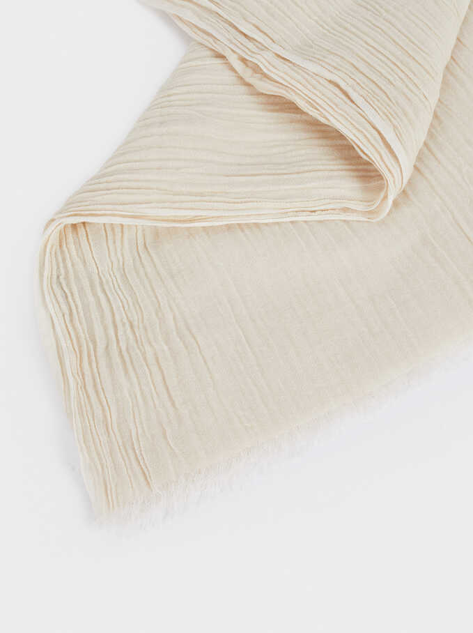 Plain Cotton Pashmina, Ecru, hi-res