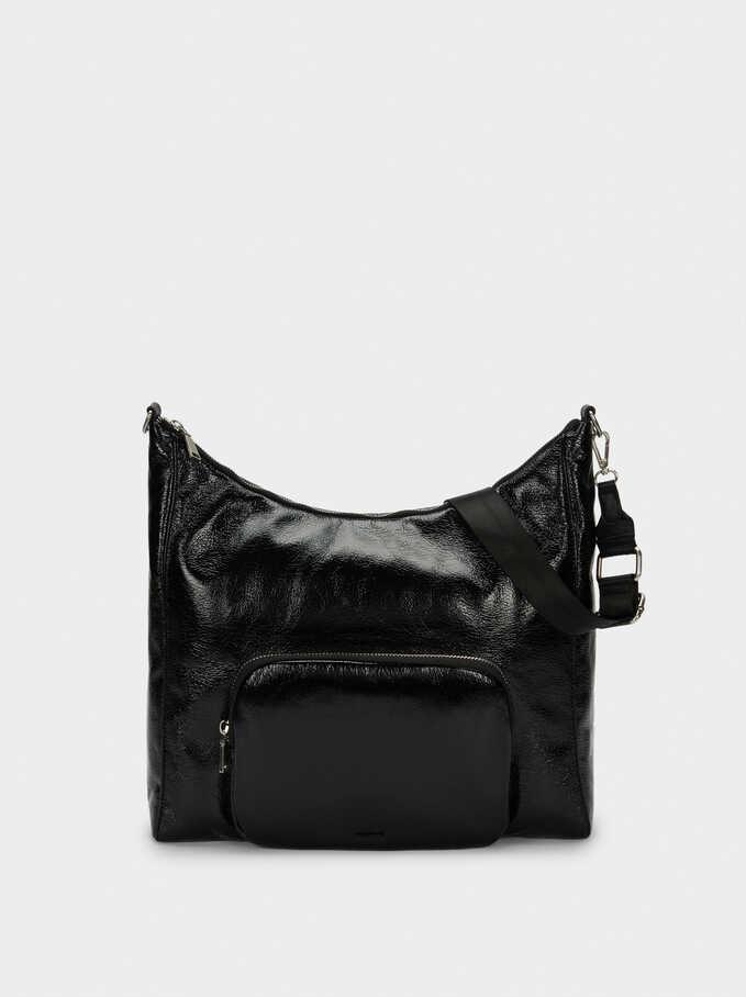 Patent Finish Shopper Bag With Shoulder Strap, Black, hi-res