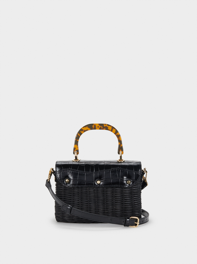 Straw Crossbody Bag With Flap, Black, hi-res