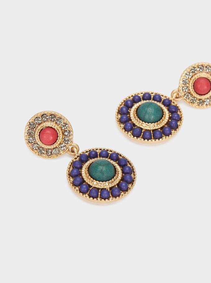Orecchini Medi Con Pietre Multicolori, Multicolore, hi-res