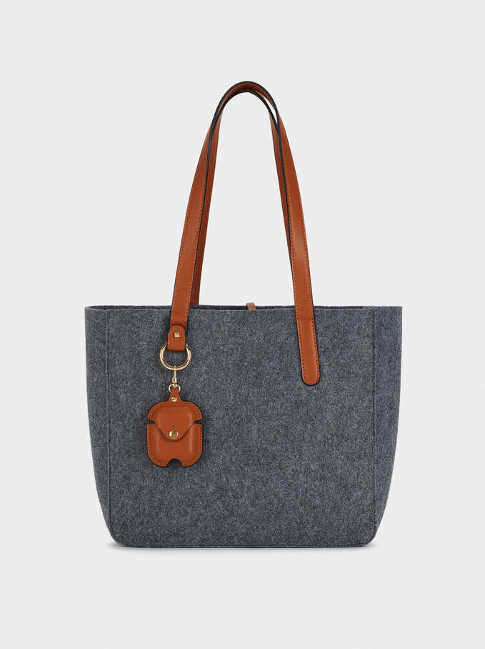 Felt Tote Bag, Grey, hi-res