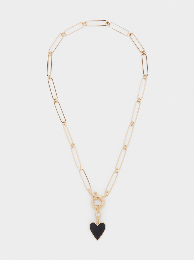 Short Chain Necklace With Heart, Black, hi-res
