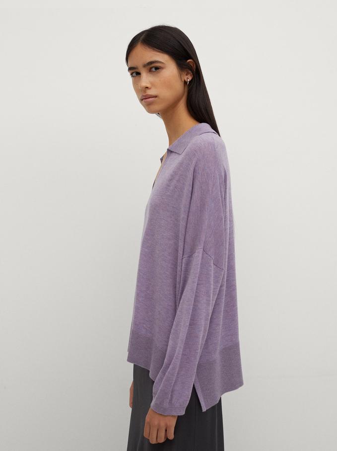 Knitted V-Neck Sweater, Violet, hi-res