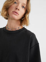 Round Neck Oversize T-Shirt, Grey, hi-res