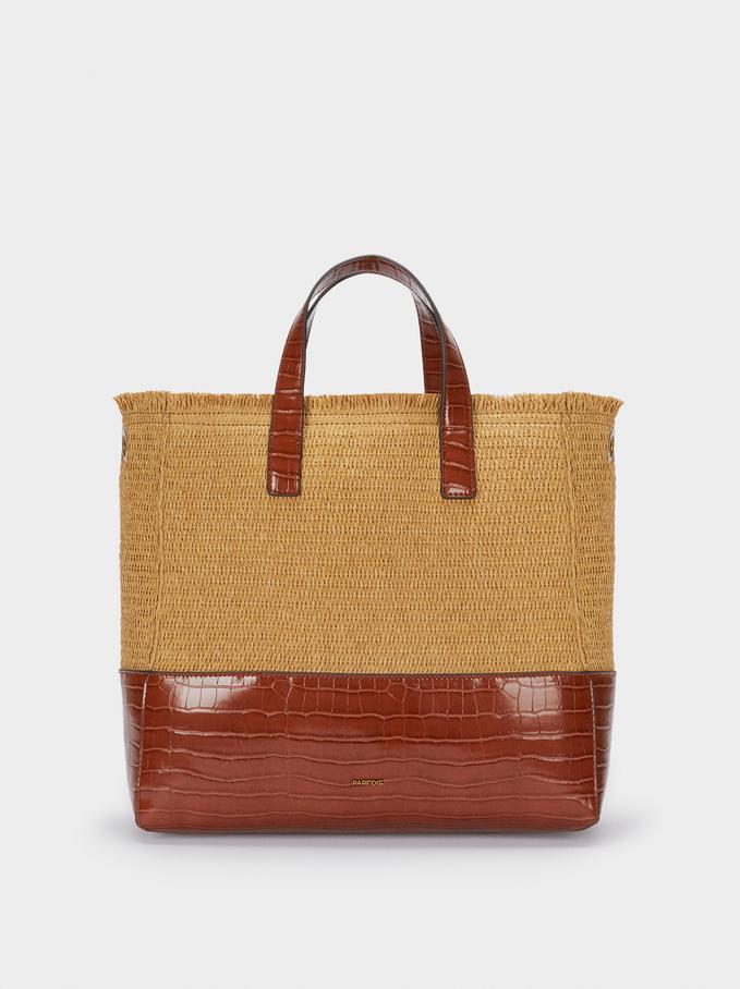 Combined Raffia Textured Tote Bag , Camel, hi-res