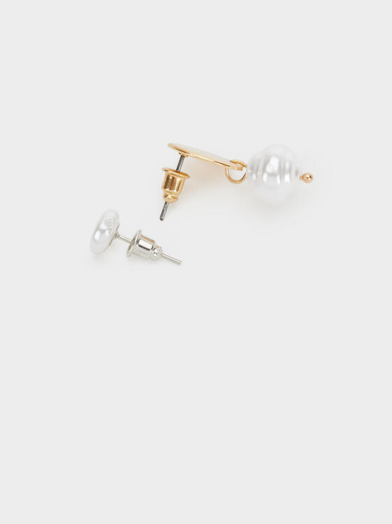 Fancy Pearls Set Of Earrings, White, hi-res