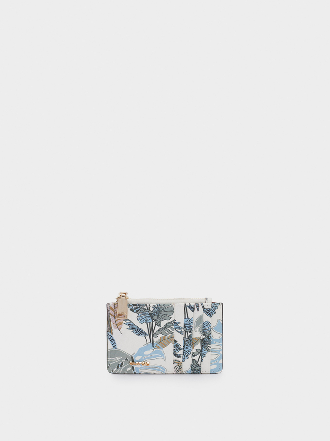 Leaf Print Card Holder With Purse, Ecru, hi-res