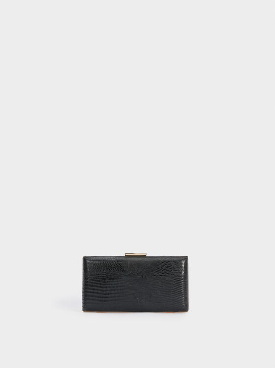 Embossed Snakeskin-Effect Evening Clutch, , hi-res